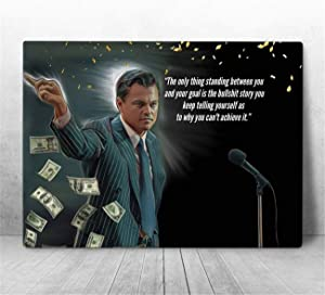NATVVA Canvas Art Wolf of The Wall Street Movie Wall Art Poster Wall Decor Only Thing Standing Between You and Your Goal Quotes Prints Painting Picture Artwork Home Decoration