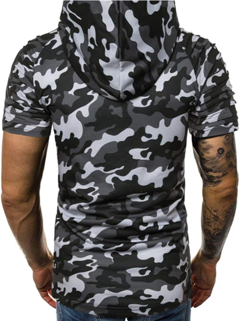 Xlala - Camisa de Moda para Hombre con Capucha de Camuflaje para ...