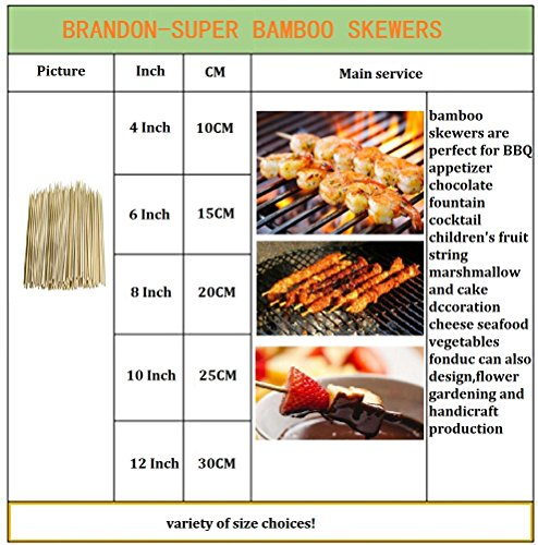 """500Pcs Natural BBQ Bamboo Skewers for Shish Kabob, Grill, Appetizer, Fruit, Corn, Chocolate Fountain, Cocktail , More Size Choices 4""""/6""""/8""""/10""""/12"""""""