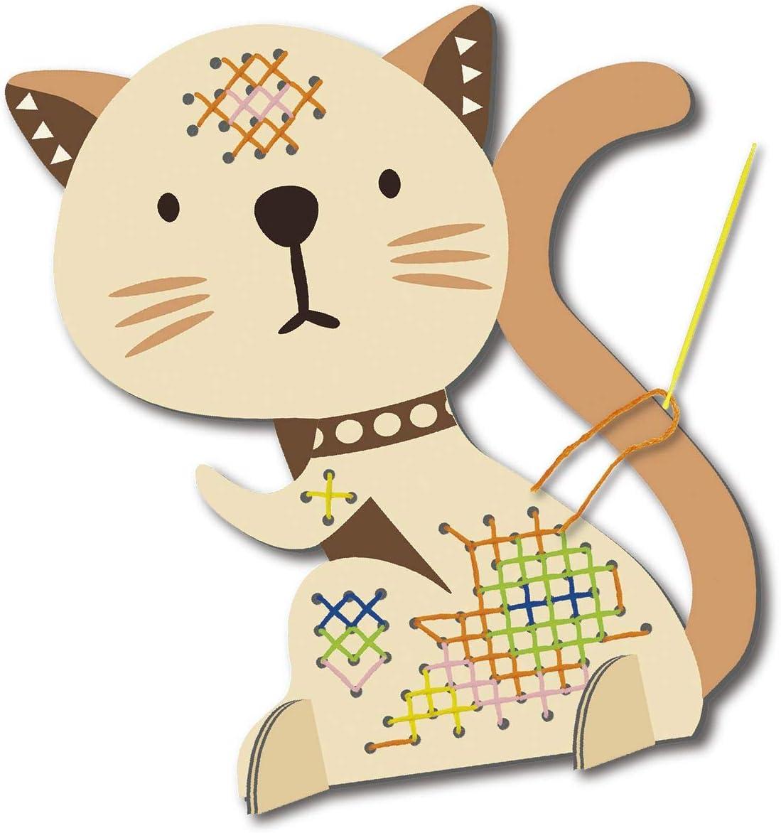 Bastelset f/ür Kinder ab 5 Jahre Kunststoff Mein erstes Stickbild Nadel Tiermotiv Komplettset mit Bildvorlage in Tierform MAMMUT 161006 5x Garn und Anleitung Katze