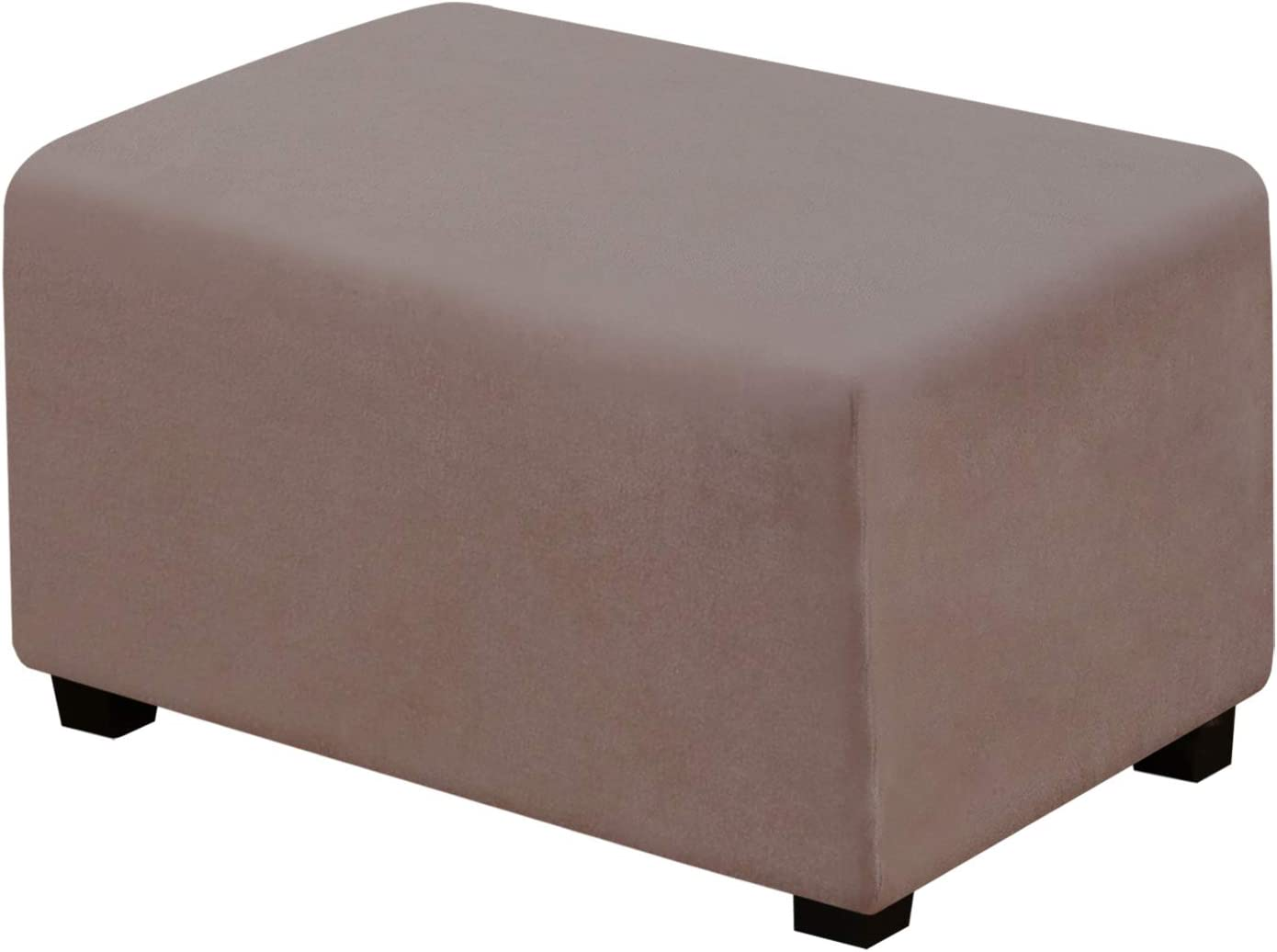 Suede Ottoman Cover Ottoman Slipcovers Removable Footstool Protector Velvet Plush 1 Piece Water Repellent Furniture Protector with Elastic Bottom, Machine Washable(Ottoman Large, Taupe)