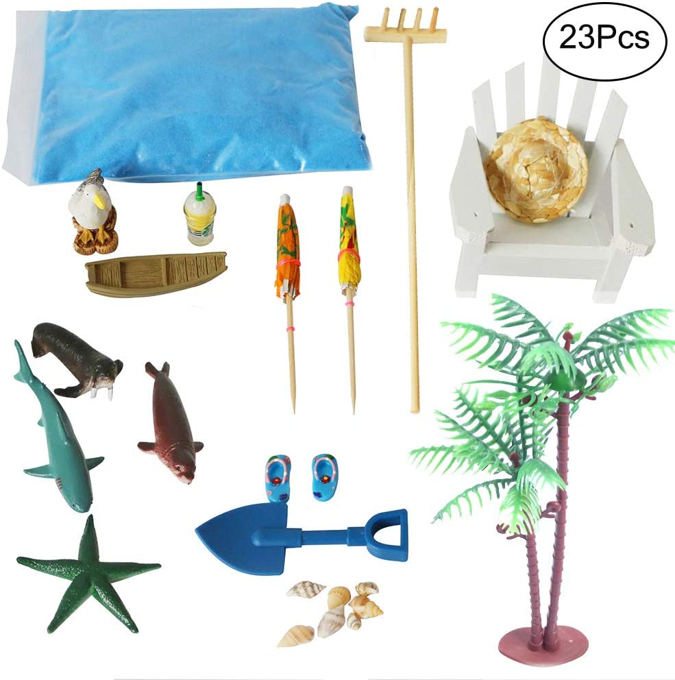 BangBangDa Beach Zen Garden Accessories Kit - Desktop Sandbox Decor with rake - Miniature Fairy Garden Dollhouse Ornament - Stress Relief Toys (23pcs)