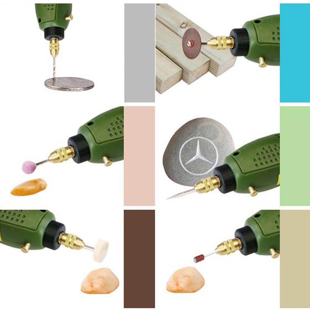 Outil de Meulage pour Polissage Per/çage D/écoupe Gravure Kit de Fraisage KKmoon Perceuse Meuleuse Mini Set 12V DC