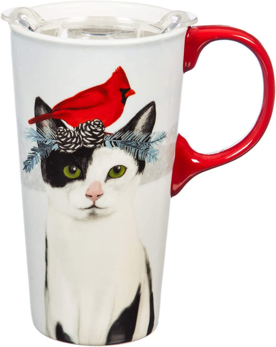Cypress Home Beautiful Christmas Cat Ceramic Travel Cup with Tritan Lid and Matching Box - 4 x 5 x 7 Inches Indoor/Outdoor home goods For Kitchens, Parties and Homes