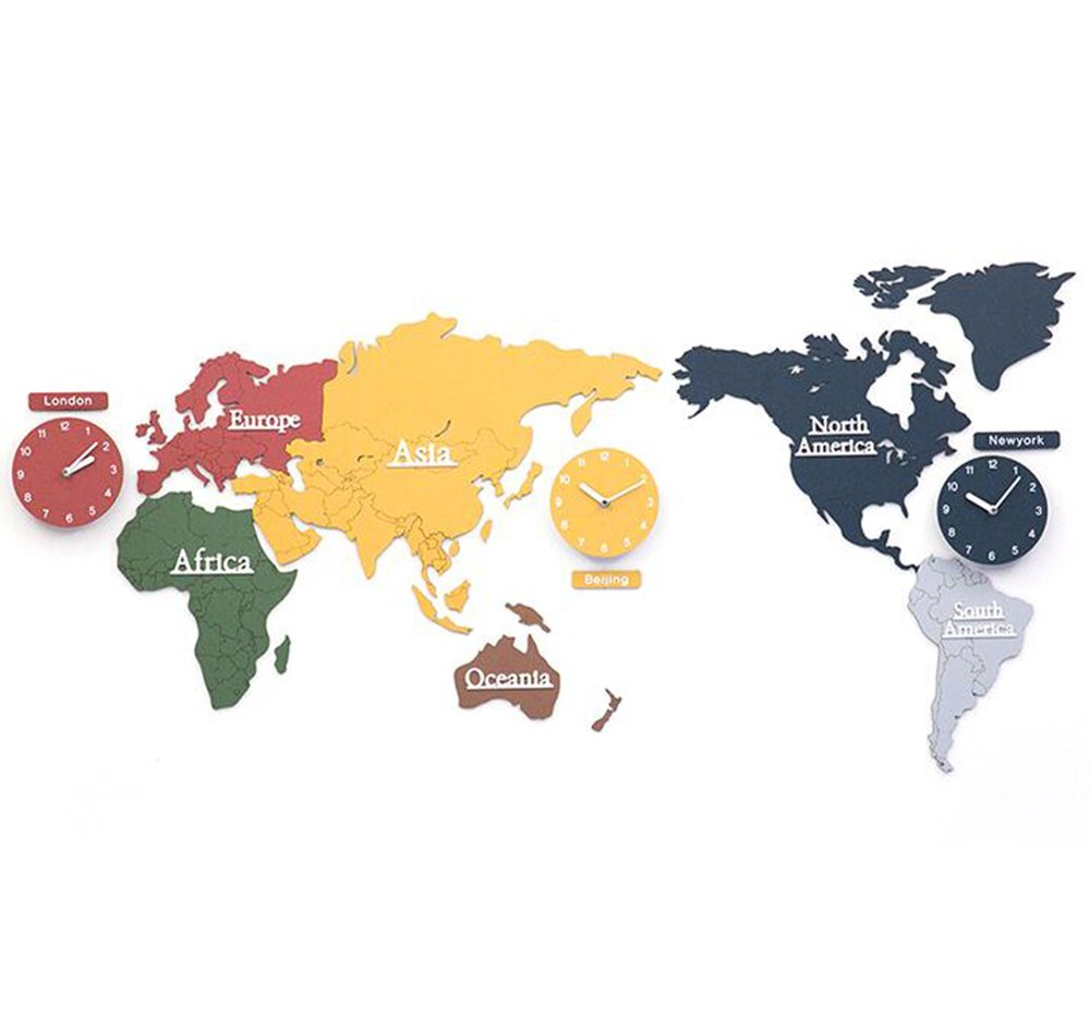 DIYの世界地図壁時計のパーソナリティモダンフレームレスの壁の背景のオフィスクロック ( サイズ さいず : 137*63cm ) B078W33XSV137*63cm