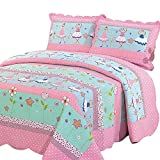 Ammybeddings Twin Size Country Flowers Print Quilt Pastoral Style Cotton Reversible Bedspread Super Soft Quilt for Kids- Lightweight Hypoallergenic Thin Comforter,59'' x 79''(1 Bedspread Only)