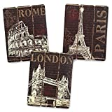 Paris, London and Rome Wooden Wall Art Home Decor, Set of 3 Picture