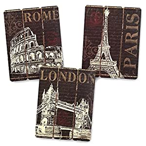 Paris london and rome wooden wall art set for London themed bathroom accessories