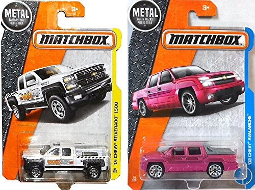 Chevy Matchbox heavy duty pick up trucks '02 Chevy Avalanche PINK #24 & '14 Chevy Silverado 1500 #59 PROTECTIVE CASES