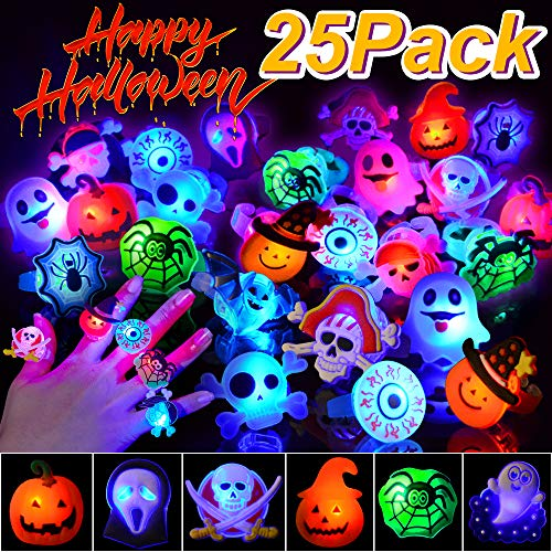 Flash Cracker Halloween (BUDI 25Pc Halloween LED Party Favors Flash Rings for Kids and Adults (Halloween Rings-25)