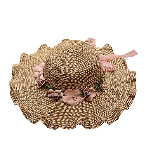 (TYPEIN Uv Sun Hat for Women Beach Straw Hat Wide Brim Ruffled Cap Lace Butterfly Strap Fresh Flowers)