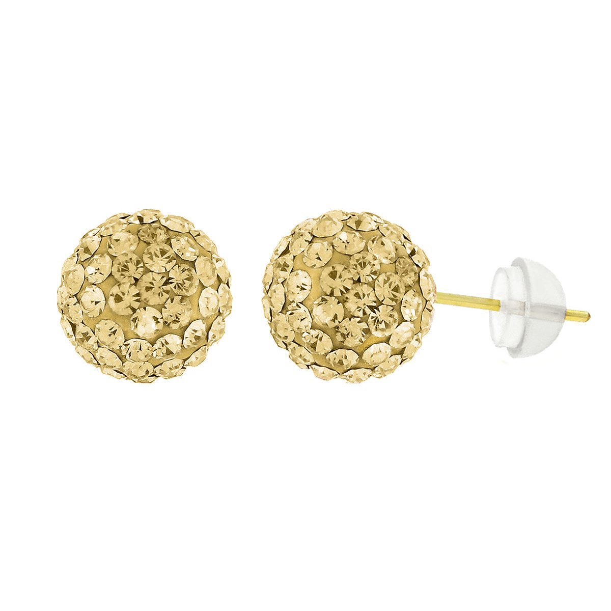 14k Yellow Gold 8mm Champagne Austrian Crystal Ball Stud Earrings