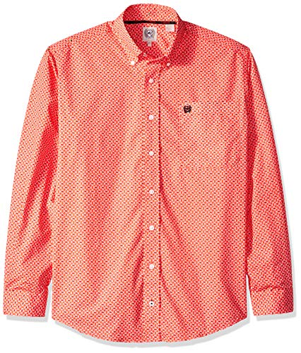 (Cinch Men's Classic Fit Long Sleeve Button One Open Pocket Print Shirt, red/Black, L)