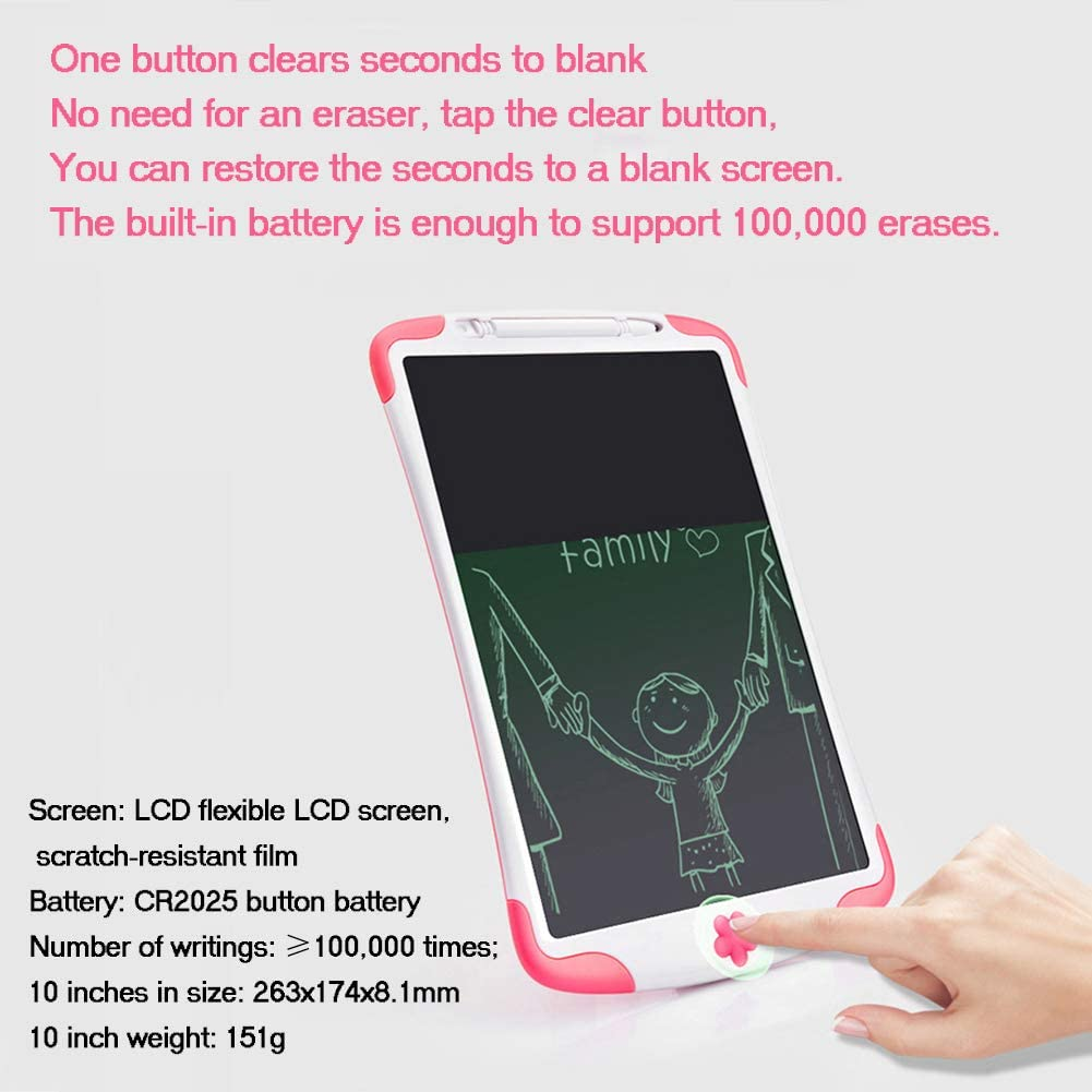 GD-LZAN 10-Inch LCD Writing Board with Lock Function LCD Electronic Tablet Puzzle Graffiti Early Education Small Drawing Board Pink