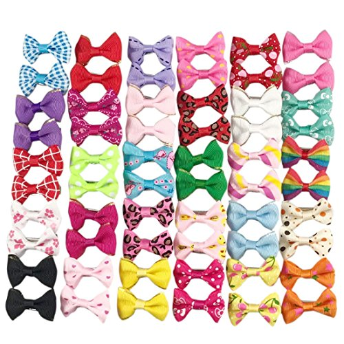YAKA60PCS/30 Pairs Cute Puppy Dog Small Bowknot Hair Bows with Clips,Handmade Hair Accessories Bow Pet Grooming Products (60 Pcs,Cute Patterns)