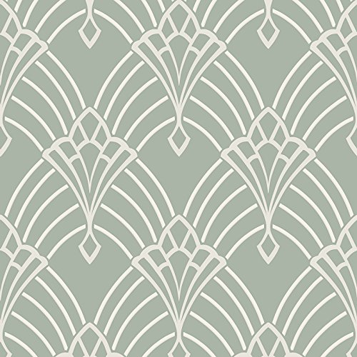 (Astoria Deco Wallpaper Duck Egg and Silver Rasch 305333)