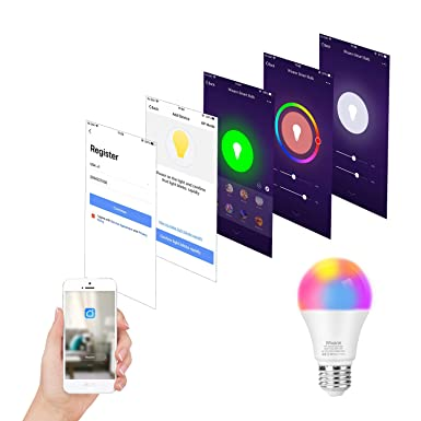 WIXANN Smart WiFi Bulb, RGBCW Wi-Fi LED Bulb A19 7W 600LM Dimmable Multicolored Lights, No Hub Required, Compatible with Alexa and Google Home, 60W Equivalent 2 Pack