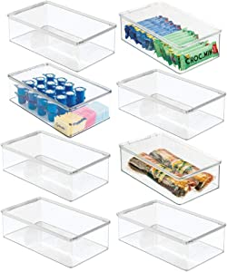 mDesign Plastic Stackable Kitchen Pantry Cabinet, Refrigerator, Freezer Food Storage Bin Box with Lid - Organizer for Fruit, Yogurt, Snacks, Pasta, Cans, Baking Supplies - 8 Pack - Clear