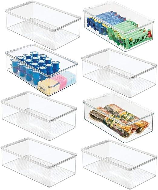 mDesign Juego de 8 Cajas organizadoras de plástico para Nevera ...