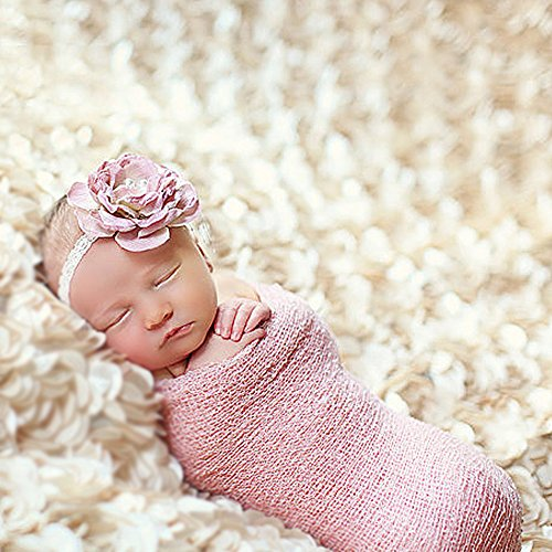 Yarra Modes Newborn Baby Photography Photo Props 3D Rose Flower Backdrop Beanbag Blanket Rug (Beige)