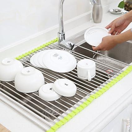 Acero inoxidable del fregadero escurreplatos secado,Cocina fregadero dren rejilla sobre el estante de almacenamiento