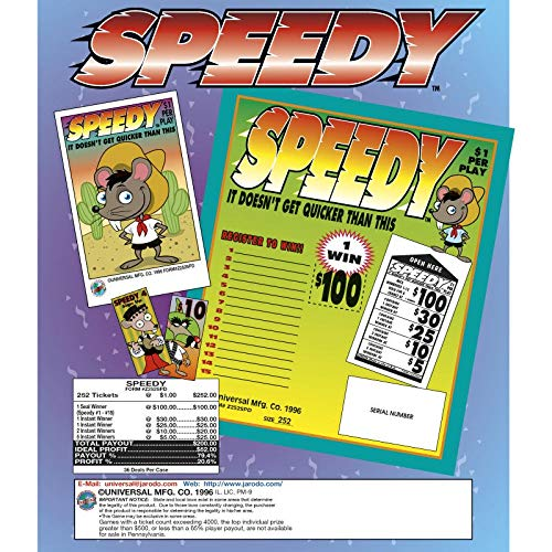 Speedy 1 Window Pull Tab Tickets - 252 Tickets Per Deal - Total Payout: $200 ()
