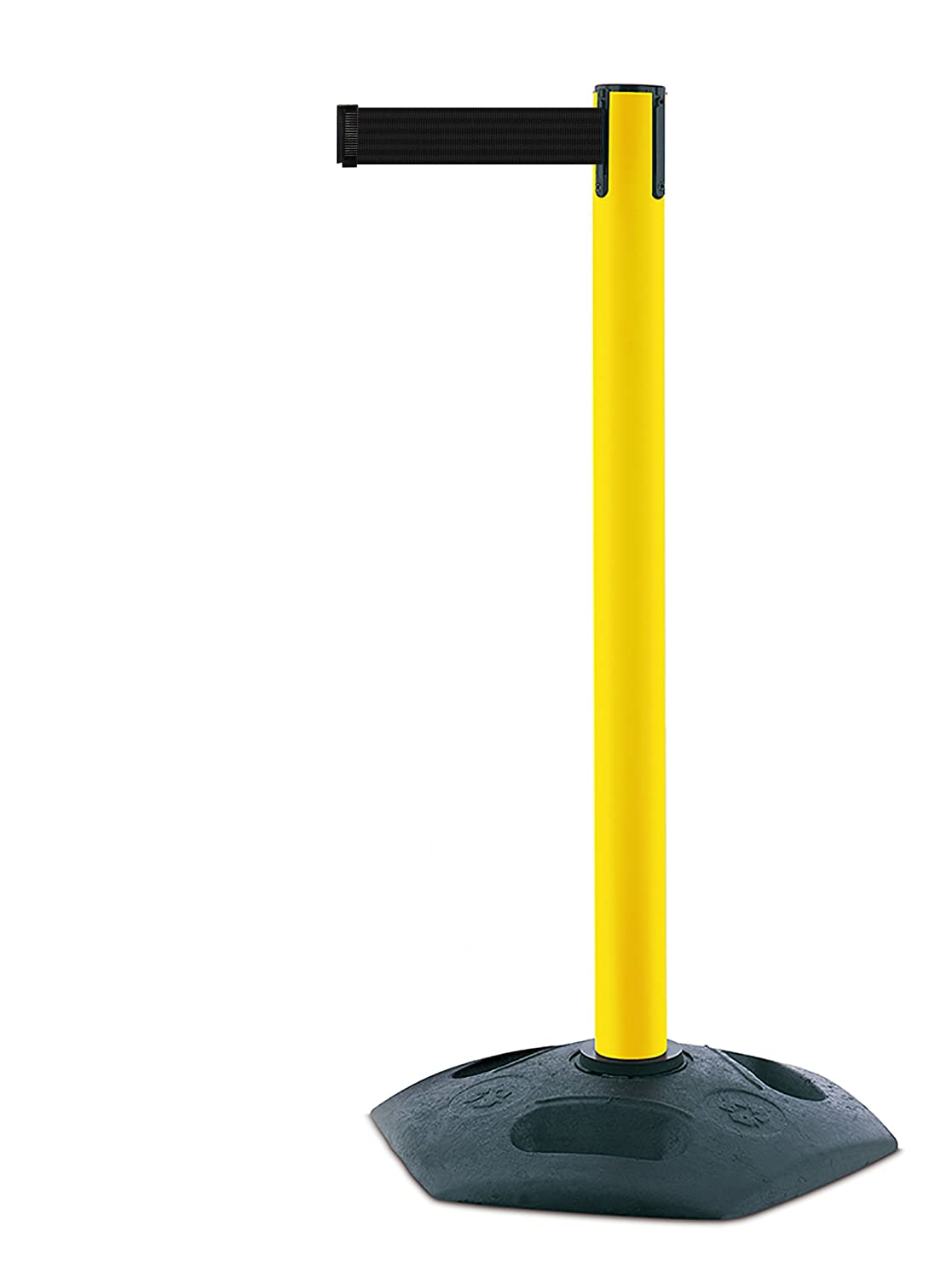 Tensabarrier Heavy Duty Post in Yellow with a Black Rubber Base and 3.65m of Black Webbing with an Anti Tamper Tape End Tensator 886M-35-B9