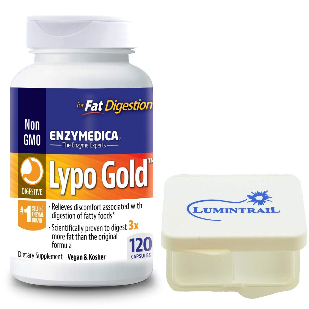 Enzymedica Lypo Gold, Enzymes for Optimal Fat Digestion, 120 Capsules Bundle with Lumintrail Pill Case by Enzymedica