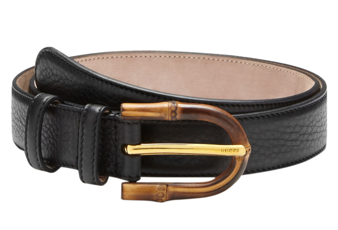 Gucci Women's Bamboo Buckle Black Leather Belt, 40, Black