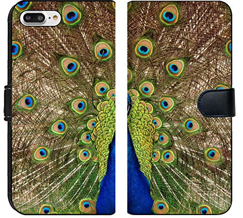 Apple iPhone 7 Plus and iPhone 8 Plus Flip Fabric Wallet Case Image ID: 7147945 Proud Peacock displaying Tail Feathers (Feathers Displaying Peacock)