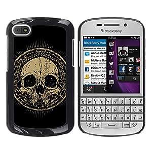 Paccase / SLIM PC / Aliminium Casa Carcasa Funda Case Cover - Design Grunge Ancient Skull - BlackBerry Q10