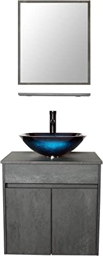 LUCKWIND Bathroom Vanity Vessel Sink Combo Wall Mount Mirror Artistic Glass Vessel Sink Faucet Drain ORB Single Cabinet Shelf Storage Shelf Suite 2 Doors Top MDF-Eco Wooden Modern Grey Rectangular