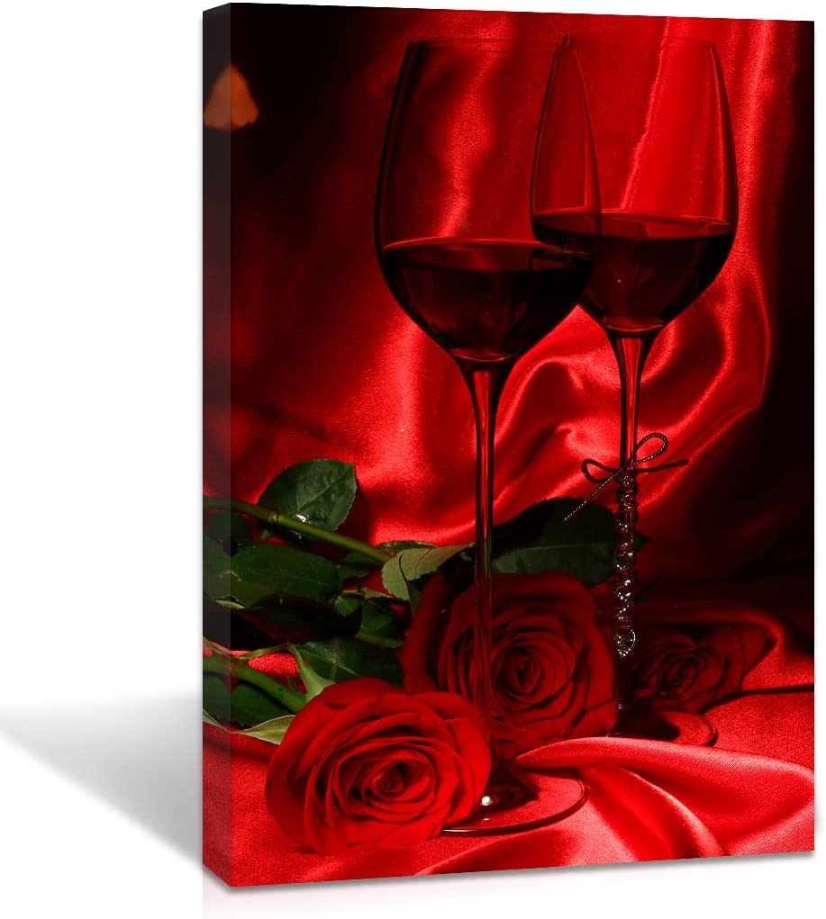 Wine Wall Art Picture Vintage Large Vertical Red Rose Grape Painting Giclee Canvas Prints Glass Frame Bathroom Wall Decals Romantic Silk Texture Artworks Photo for Restaurant Kitchen Decor 16