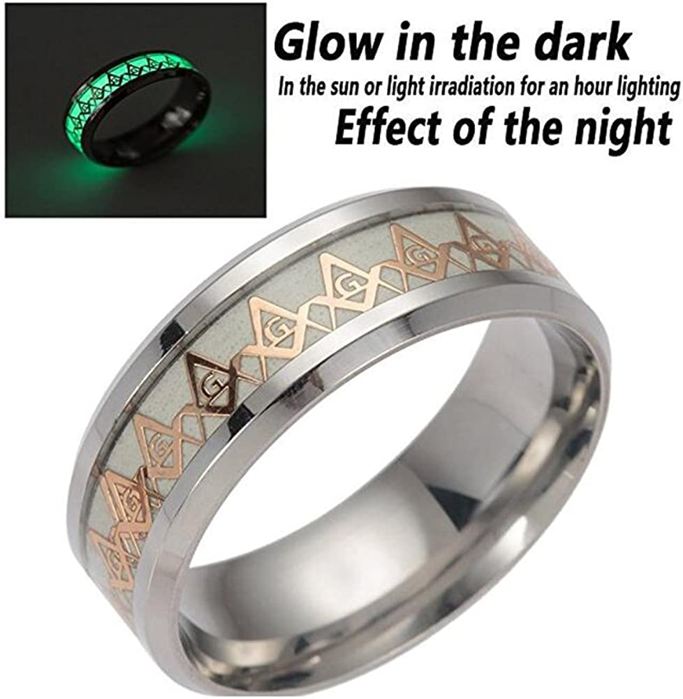 Amazon Com Erluer Freemason Masonic Luminous Rings For Men Women