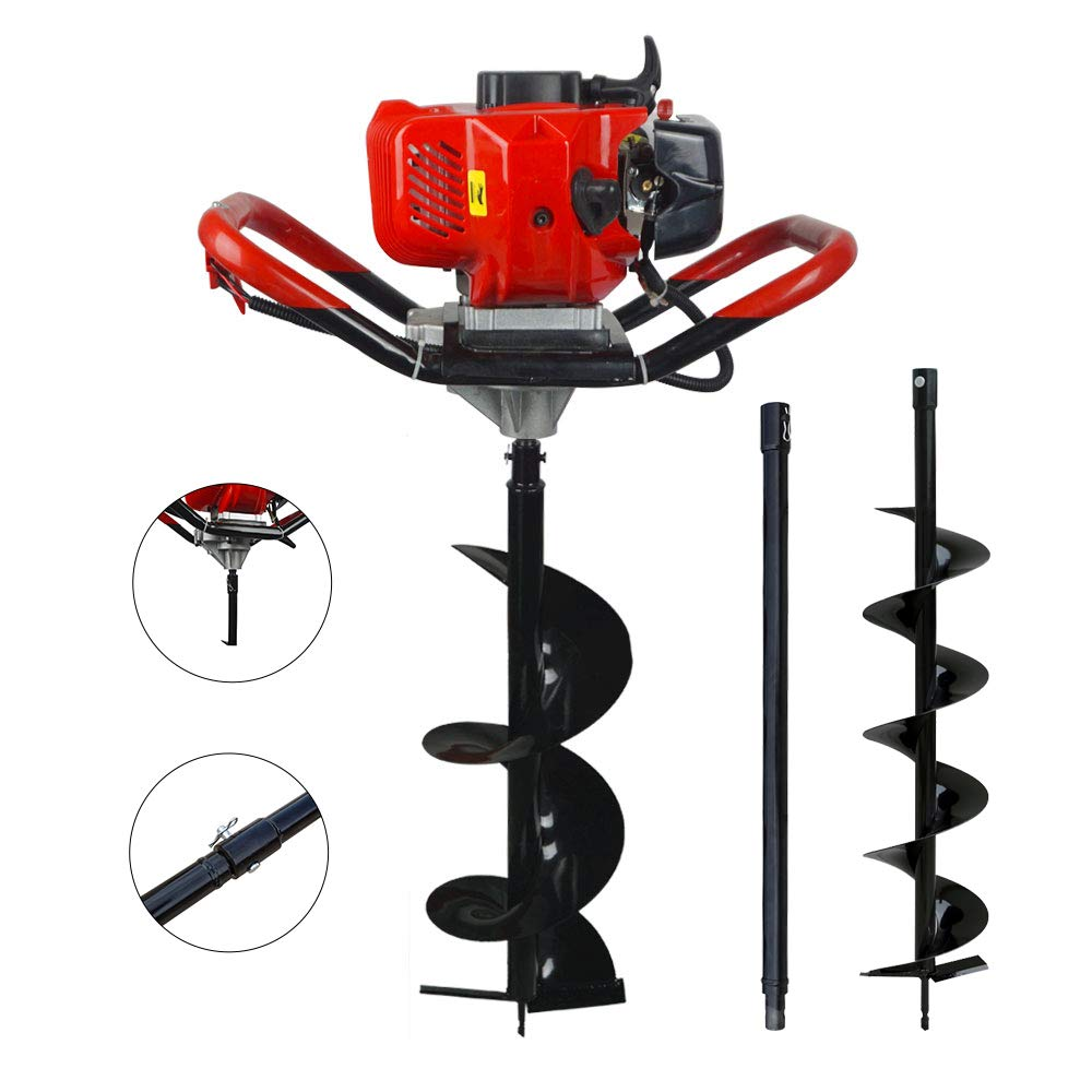 ECO-WORTHY 52CC Gas Powered Post Hole Digger with 6' & 10' Earth Auger+23.62'' Extension Length L10020104008NE-1