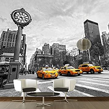 Amazoncom New York Yellow Taxi Wall Mural Black White Photo