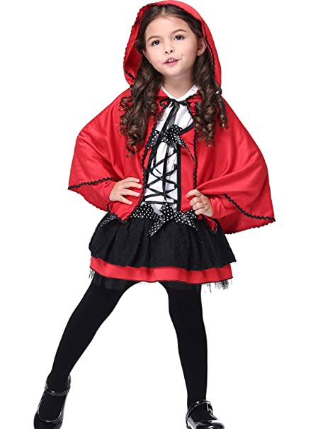 664ffab2bd RIBIKA costume di Halloween per bambini, mantello da ragazza rosso Little  Devil Cosplay Show