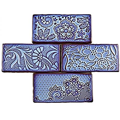 "SomerTile WCVAFV Antigue Feelings Via Lactea Ceramic Wall Tile, 3"" x 6"", Blue/Brown"