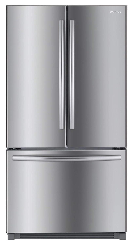 Black Daewoo RFS-26ABB French Door Bottom Mount Refrigerator 26 Cu Ft