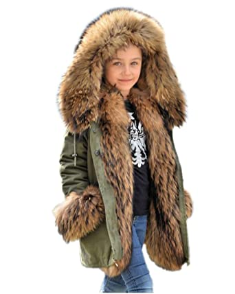 a6c608877 Amazon.com  Aox Unisex Kids Casual Winter Faux Fur Hoodies Coat Warm ...