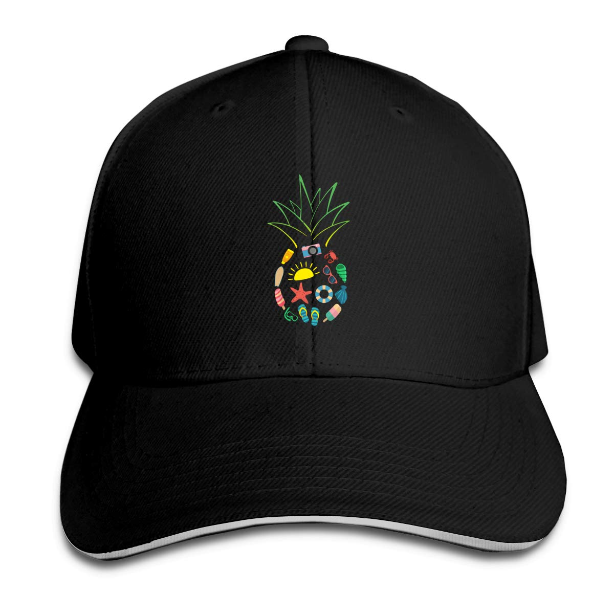 Pineapple Beach Summer Outdoor Snapback Sandwich Cap Adjustable Baseball Hat Trucker Cap