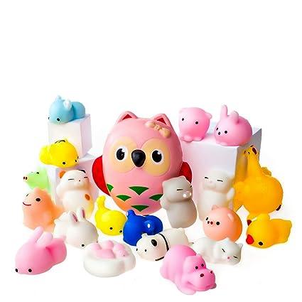 Juguetes Mochi Squishys - Pack De 20 Squishys Y 1 Squishi Búho Jumbo De Hinchado Lento - Gato Mochi Squishy ...