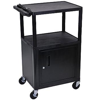 Open Shelf Endura Equipment AV Cart With Locking Cabinet Size: 42u0026quot; H X  24u0026quot