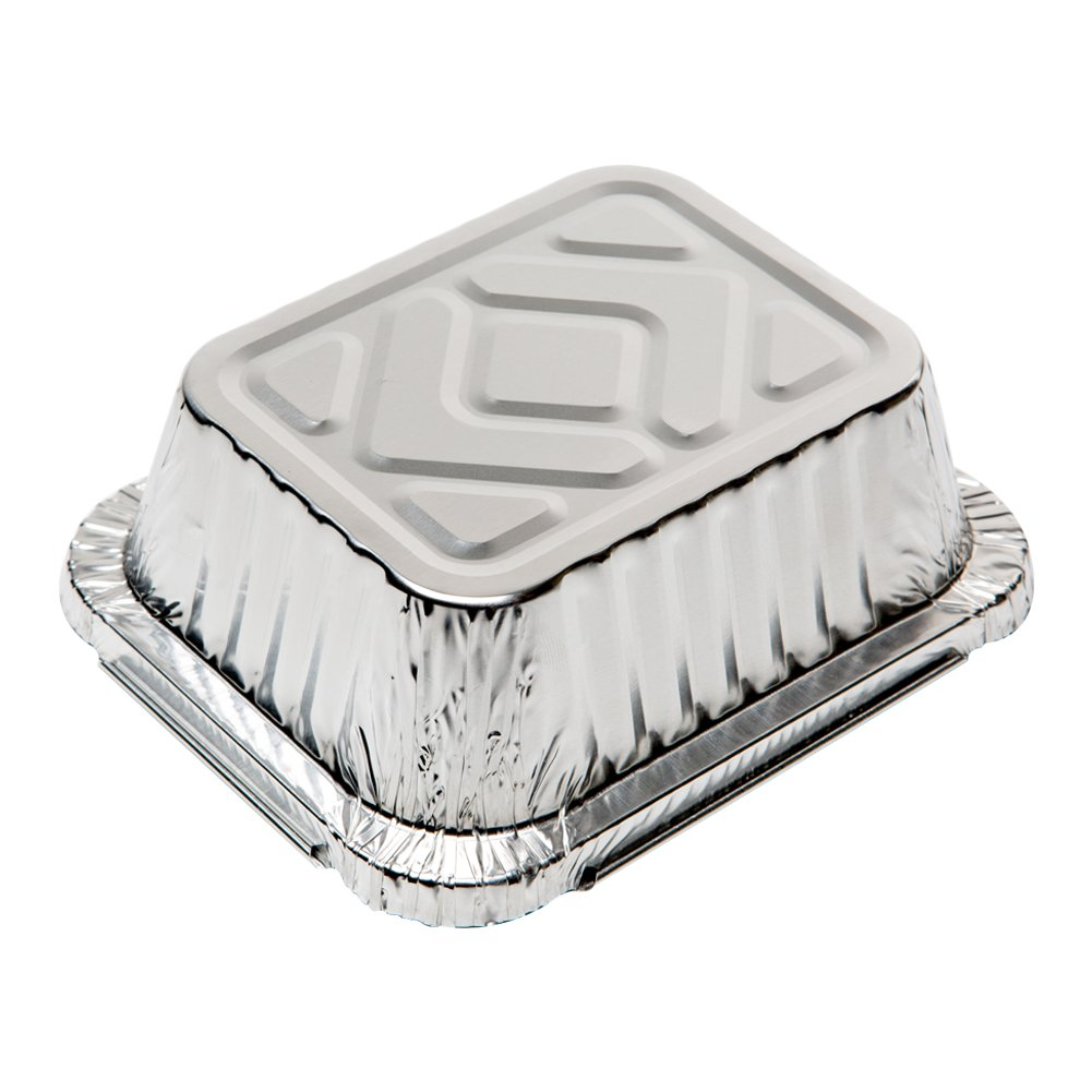 XIAFEI New Disposable Durable Aluminum Oblong Foil Pan, Take-Out Pans, Pack of 50 with PET Plastic Lids by XIAFEI (Image #5)