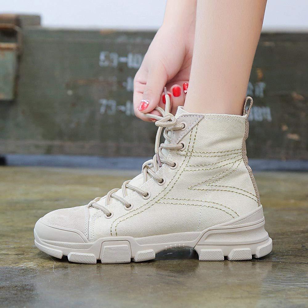 Logobeing Botas de Mujer Altas Moda Casual y Vers/átil Botas de Moto British Encaje Brit/ánico Zapatos de Cordones Mujer