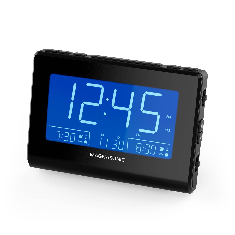 Magnasonic Alarm Clock Radio with Battery Backup, Dual Gradual Wake Alarm, Adjustable Brightness, Daylight Savings Time, Large 4.8 LED Display, AM/FM, Sleep Timer, Day/Date Display (CR61) Large 4.8 LED Display