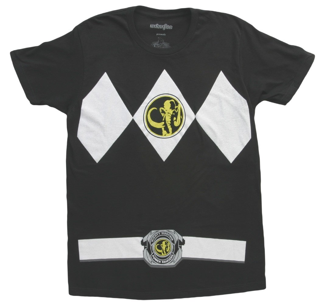 The Power Rangers Black Rangers Costume Adult T-shirt Tee, Black, Large