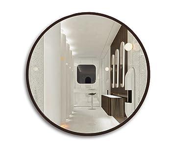 Miroir pour salle de bain avec cadre en bois rond, miroir mural pour ...