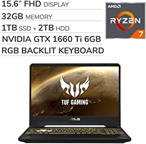 ASUS TUF Gaming 2019 15.6'' FHD Laptop Notebook Computer, AMD Ryzen 7 R7-3750H 2.3GHz, GTX 1660 Ti 6GB Graphics, 32GB RAM, 1TB SSD, 2TB HDD,RGB Backlit Keyboard,Wi-Fi,Bluetooth, Webcam,HDMI,Win 10
