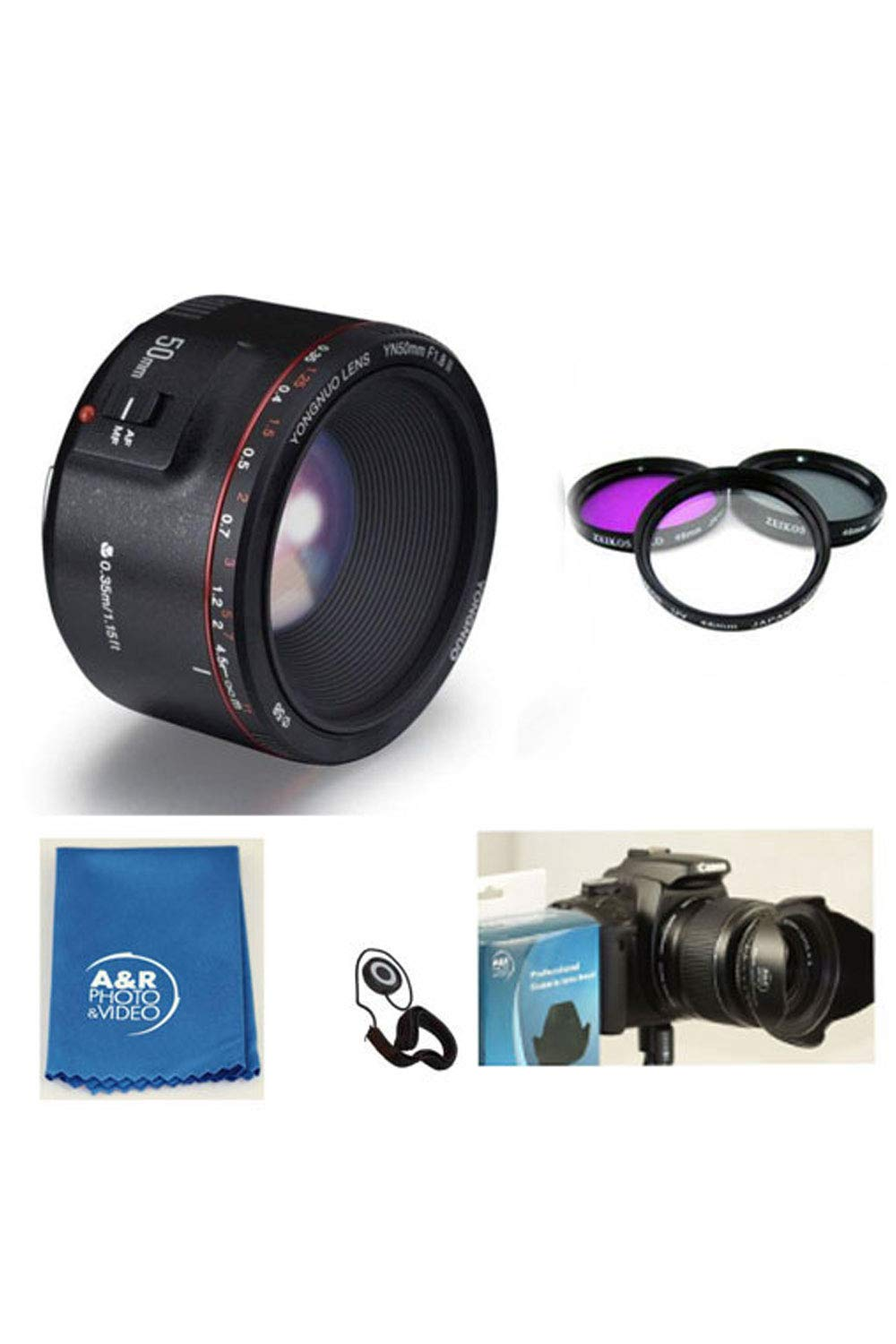 New Yongnuo EF 50mm II F1.8 Standard Prime Lens Kit with Filter Kit, Hood, Case for Canon T7I 77D 80D 70D T6 T6I 5D 6D 7D by YONGNUO